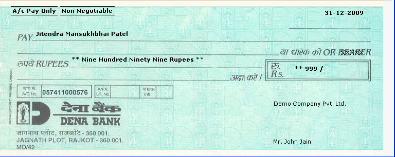 Cheque Printing Software >> Cheque Writing >> Print Bank